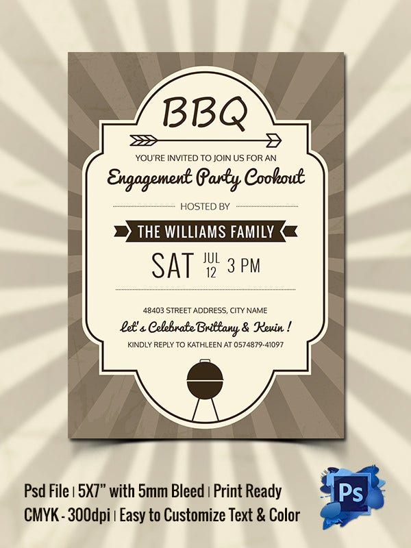 40 BBQ Invitation Templates Free Premium Templates – Engagement Party Template