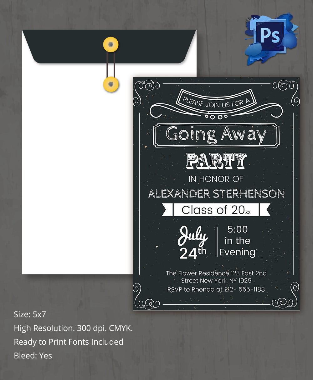 farewell party invitation template 25 psd format going away invitation party template