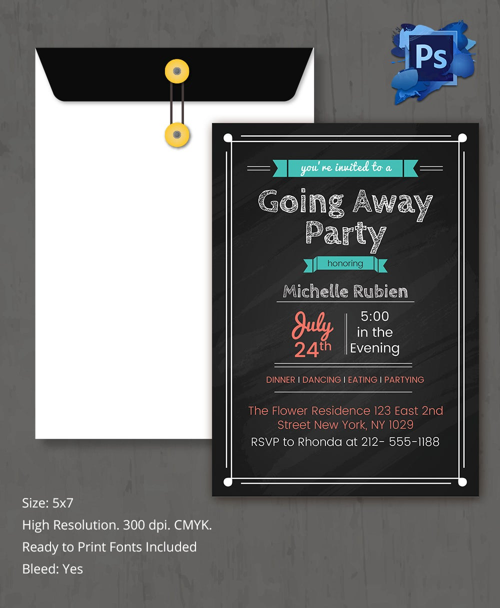 Editable Going Away Invitation Party Template
