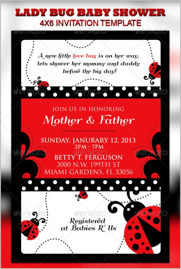 lady bug baby shower invitation ticket