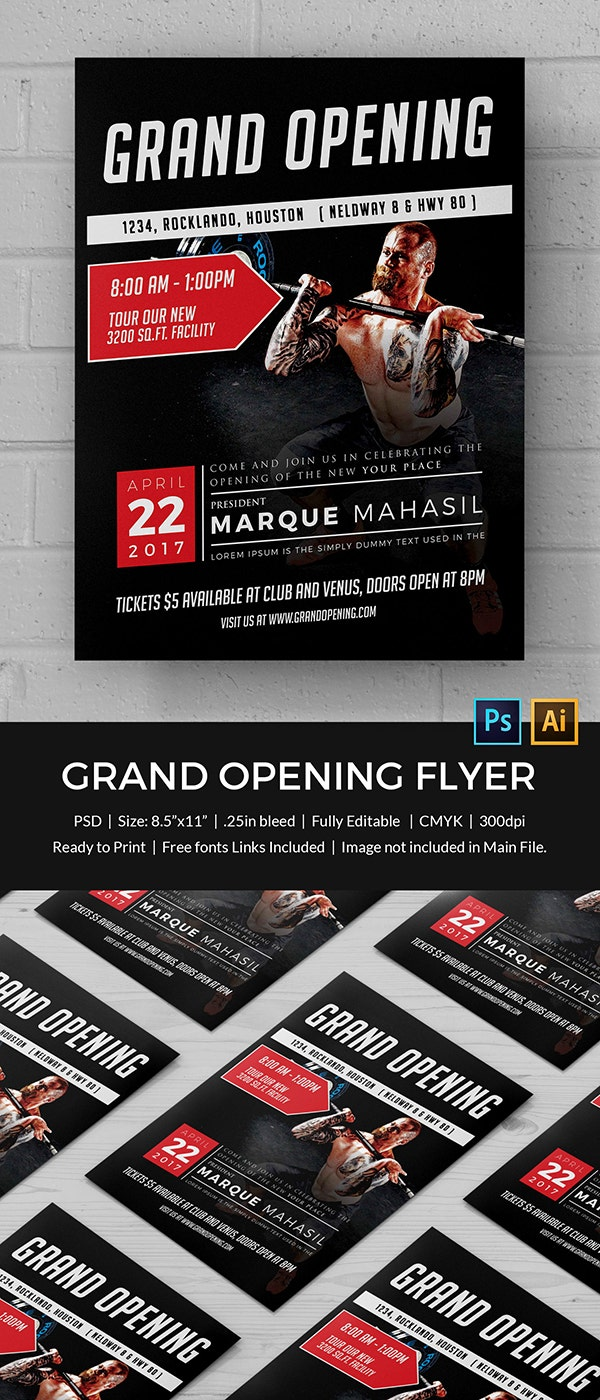 grand opening flyer psd ai vector eps format gym grand opening flyer template