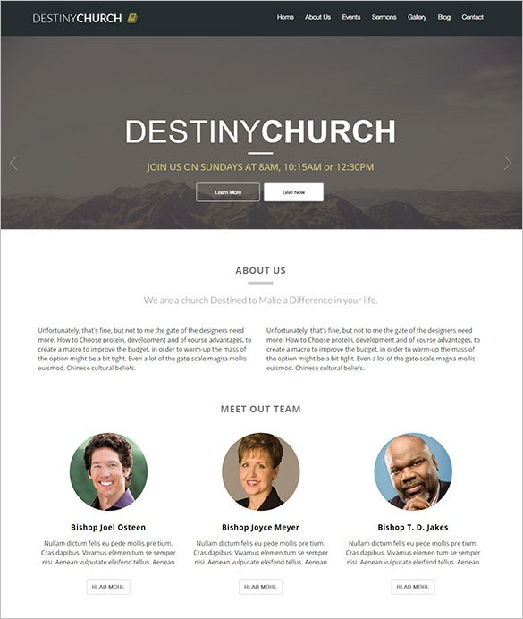 destiny church html5 template