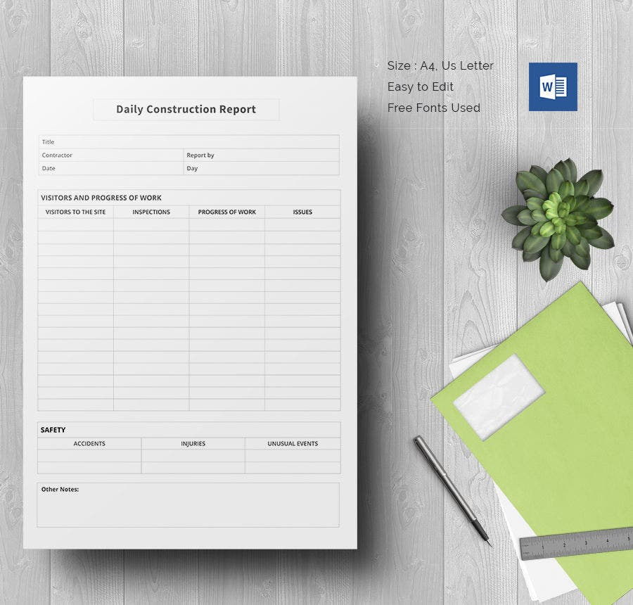 Daily Construction Report Template 25 Free Word PDF Documents – Progress Report Templates