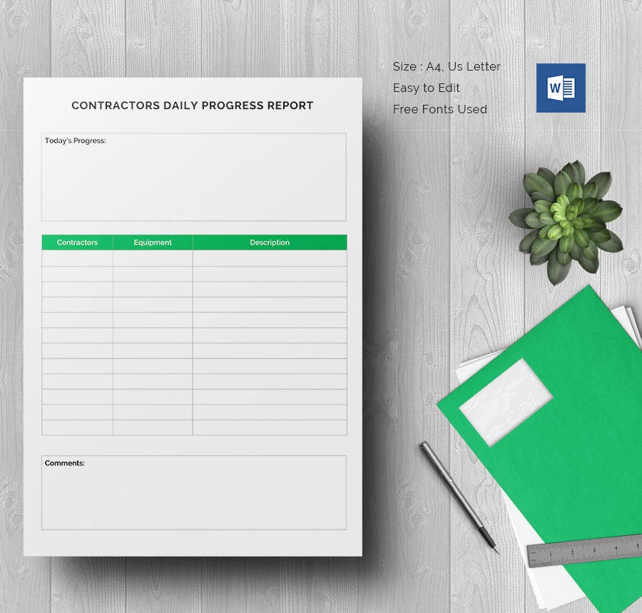 Daily Construction Report Template 25 Free Word PDF Documents – Construction Progress Report Template