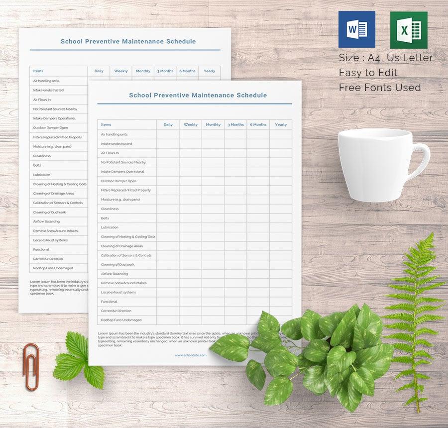 free preventive maintenance schedule template