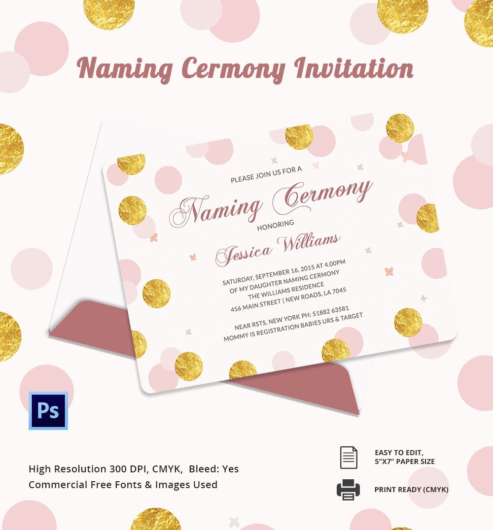 Invitation Card Template 25 Free PSD AI Vector EPS Format – Naming Ceremony Invitation Template
