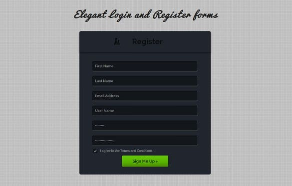flat ui html5 and css3 register form free download
