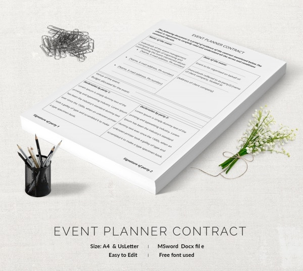 Planner Contract Template Best Images Of Printable Wedding Planner