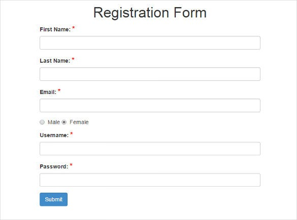 free registration forms template