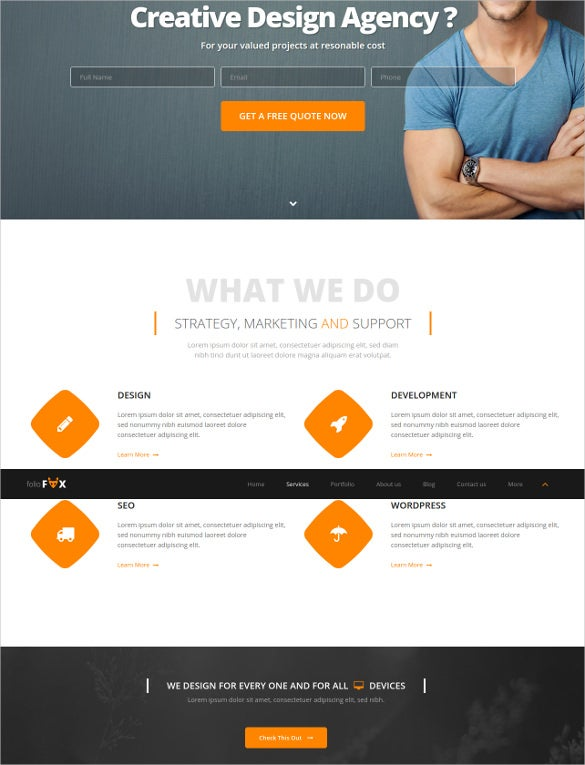 single page parallax html5 template