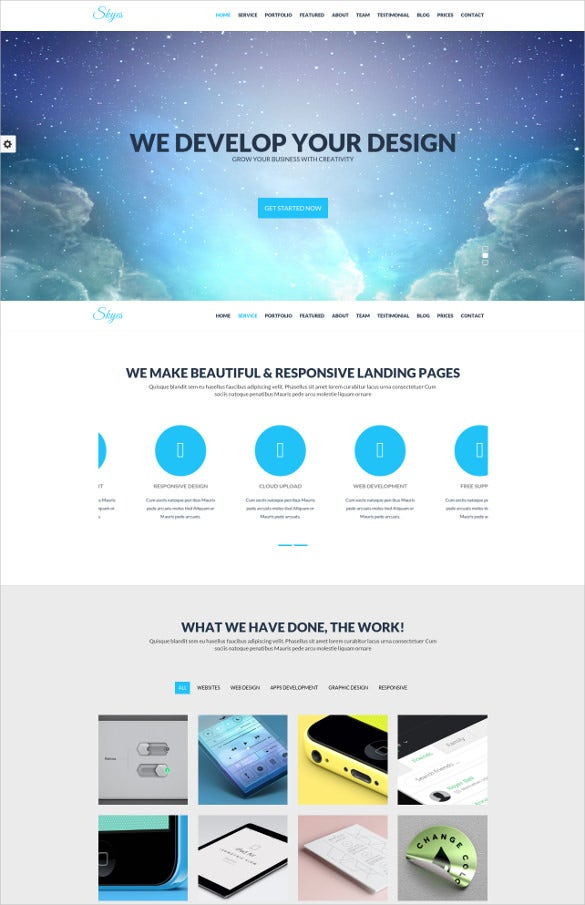 modern design parallax one page html template