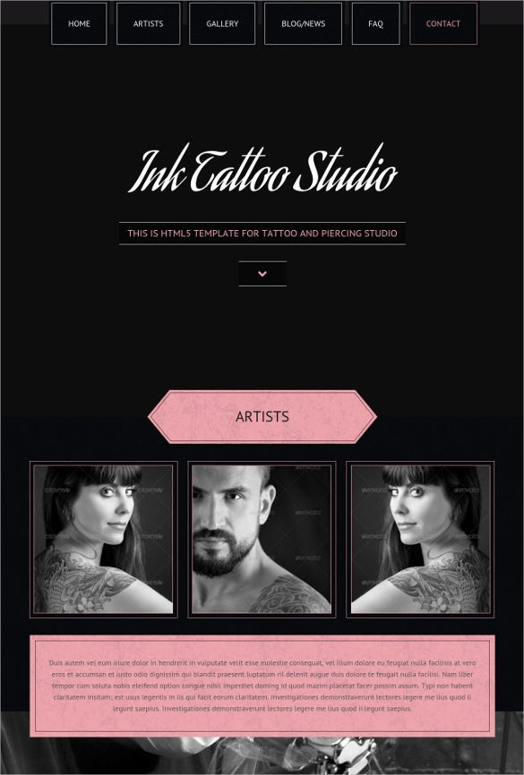 tattoo studio parallax html5 template