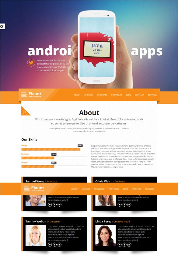 parallax html5 landing page template