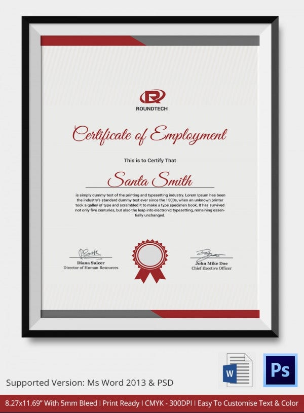 Certificate of Employment for Fixed Term