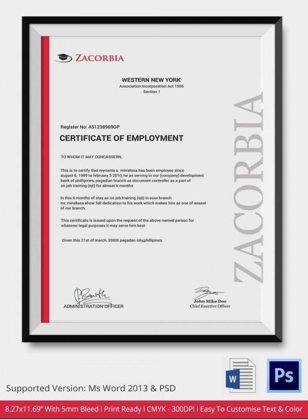 Certification Of Employment Template