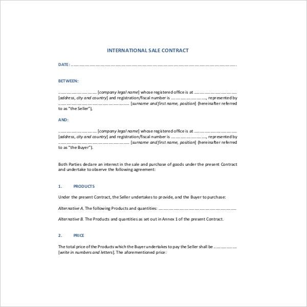 International Sale Contract Agreement PDF Format  Free Sales Contract Template