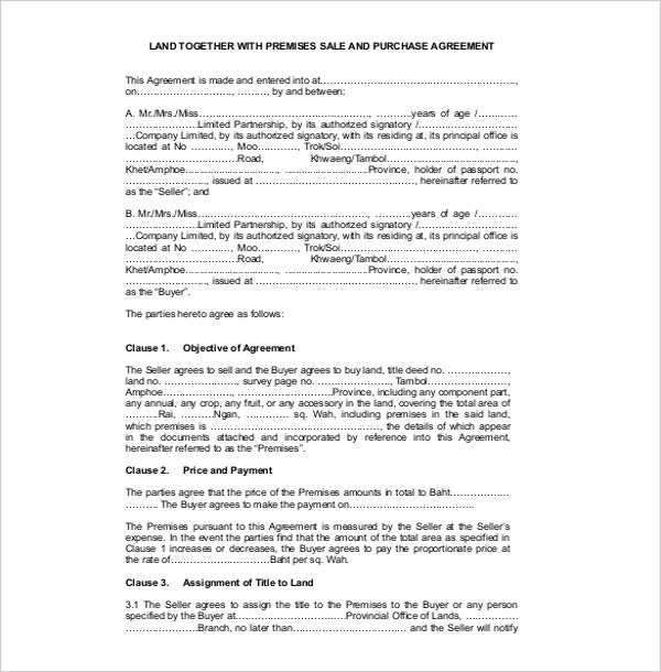 Land Sales Contract Template PDF Download