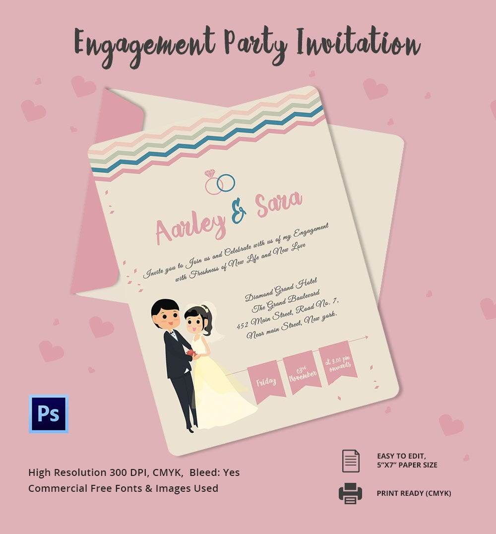 engagement invitation template   free psd, ai, vector eps, Party invitations
