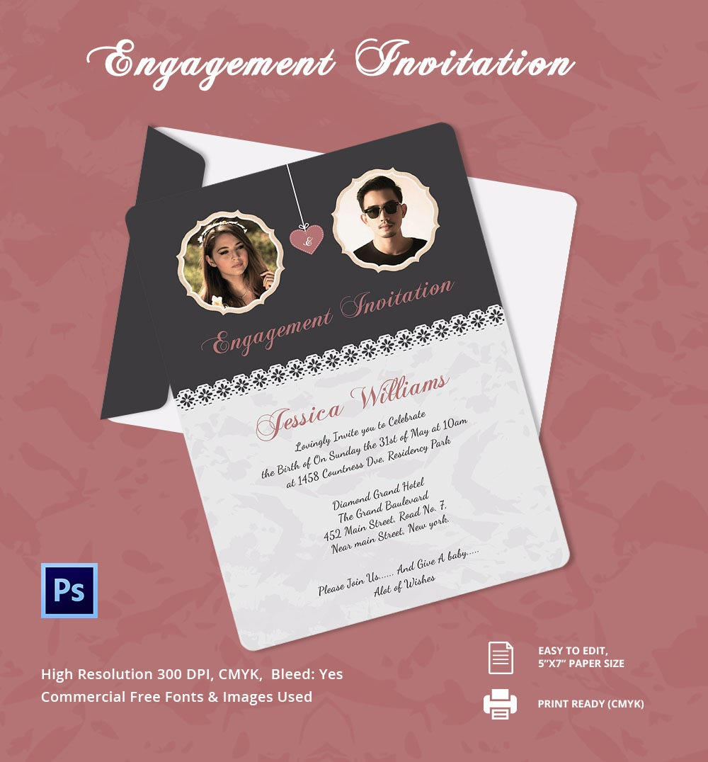 Elegant Engagement Invitation Template  Engagement Card Template