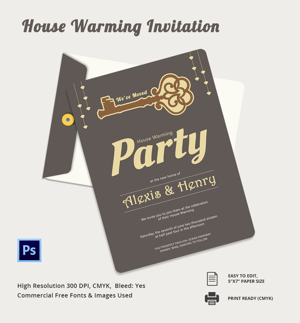 Psd House Warming Invitation Template