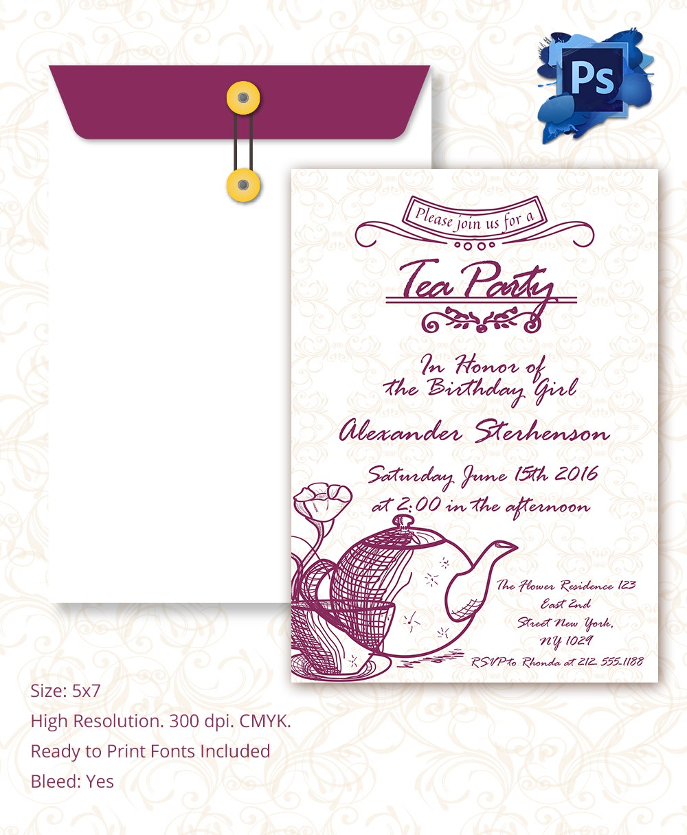 tea party birthday invitation template - Paso.evolist.co