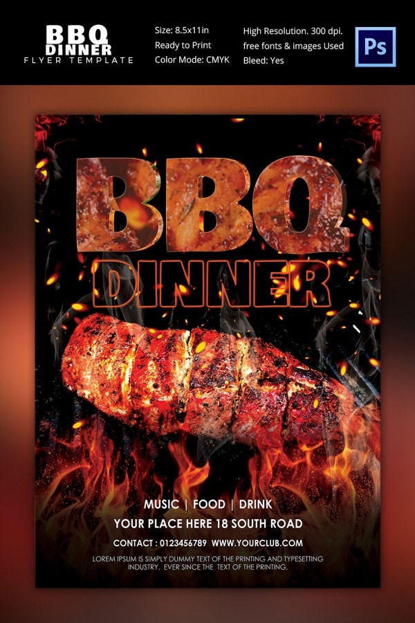 BBQ Dinner Party Flyer Template Photoshop