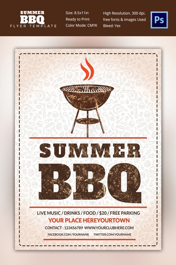 Summer BBQ Flyer Template Premium Download