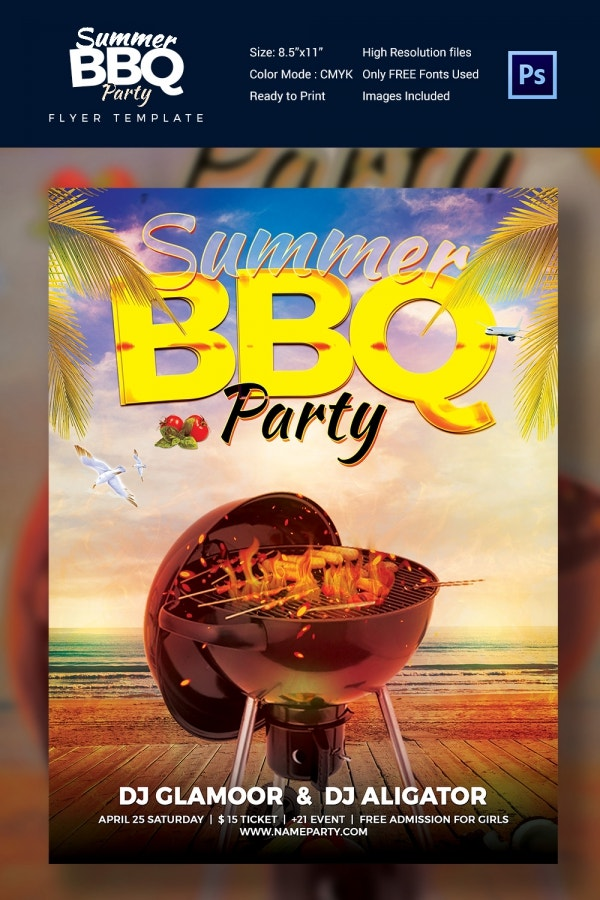 BBQ Summer Party Flyer Template Download