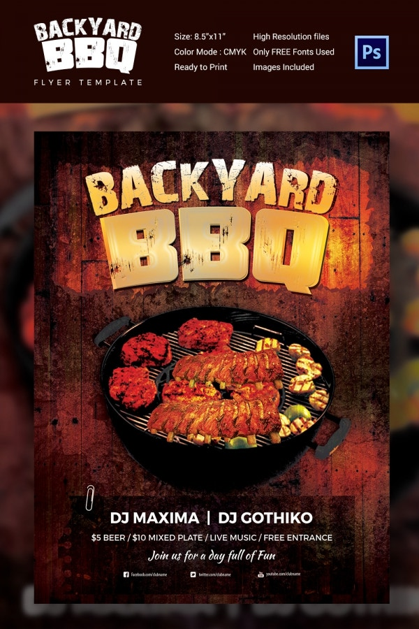 Premium Backyard BBQ Party Flyer Template PSD