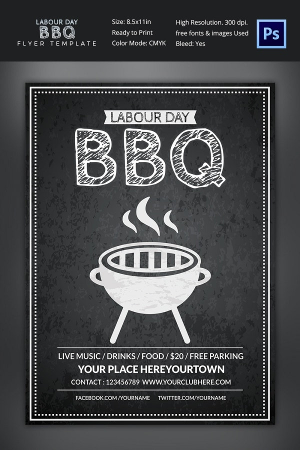 Free Labor Day BBQ Flyer Template PSD