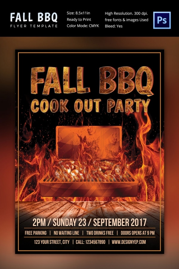 Fall BBQ Party Flyer Template
