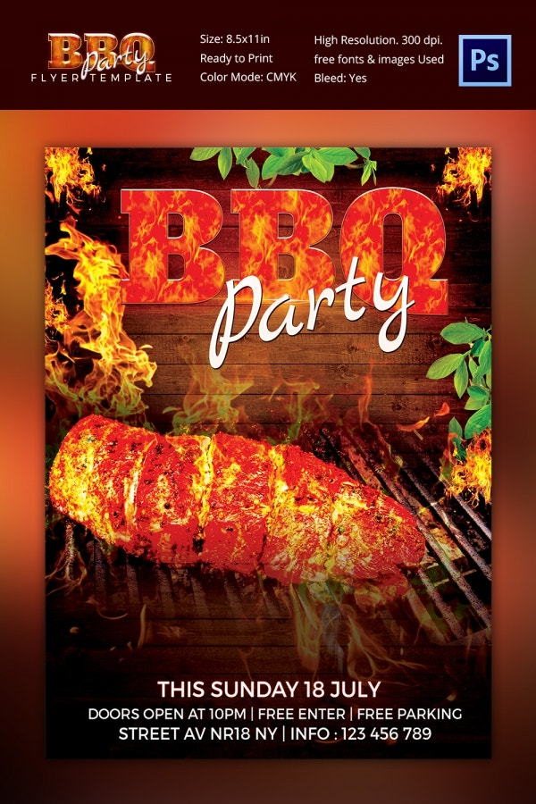 PSD Photoshop BBQ Party Flyer Template