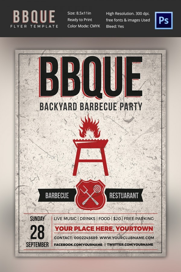 Backyard Barbecue Restaurant Flyer Template