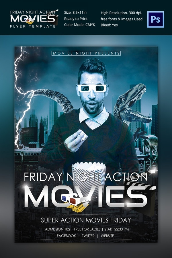 Friday Night Movie Flyer Template Design