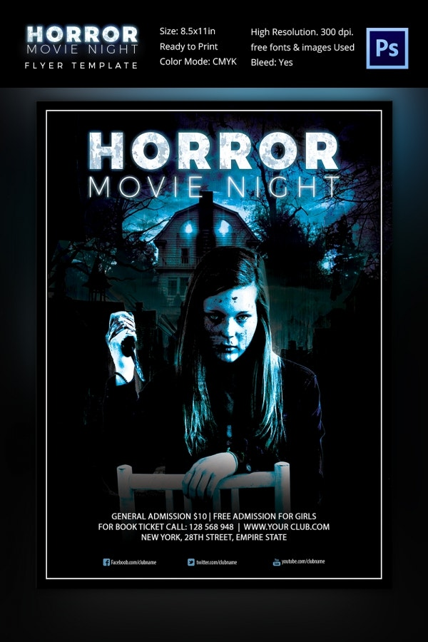 Horror Movie Night Flyer Template