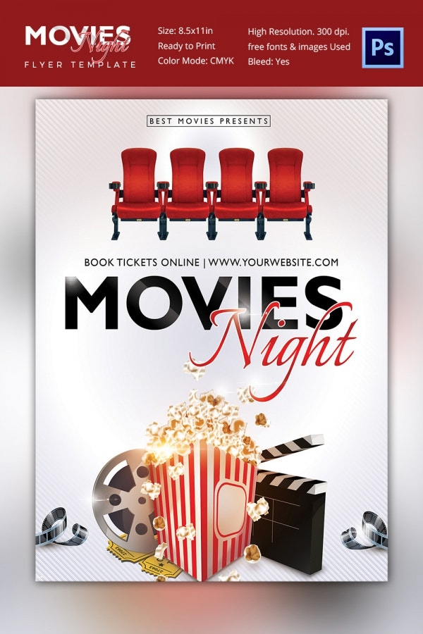 Movie Night Flyer Template   Free Jpg Psd Format Download