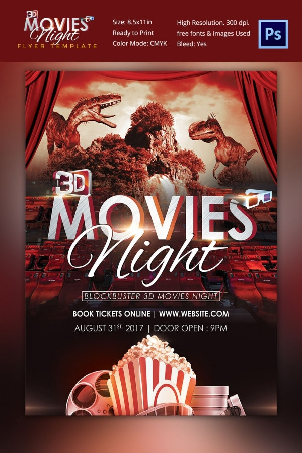 3D Movie Night Poster Template