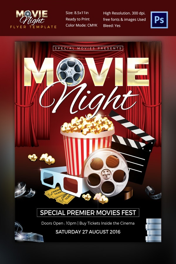 Fully Layered Movie Night Flyer Template