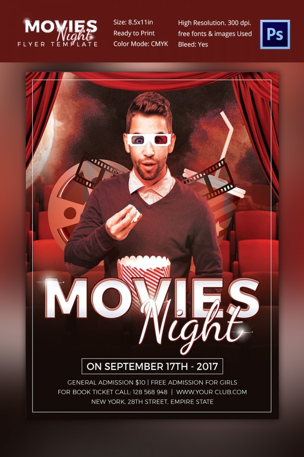 Movie Night Flyer Template PSD Design