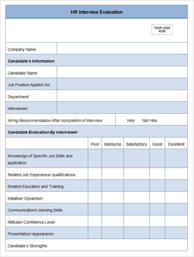 13 HR Evaluation Forms HR Templates – Interview Evaluation Form