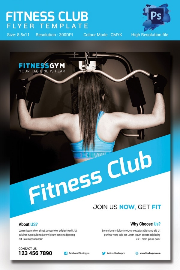 Fitness flyer template 32 free psd format download for Fitness brochure template