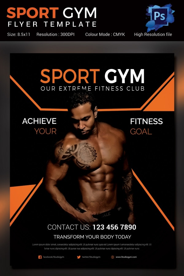 Modern Sports Fitness Flyer Template