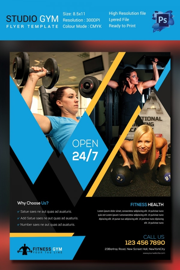 Fitness flyer template 32 free psd format download for Gym brochure template