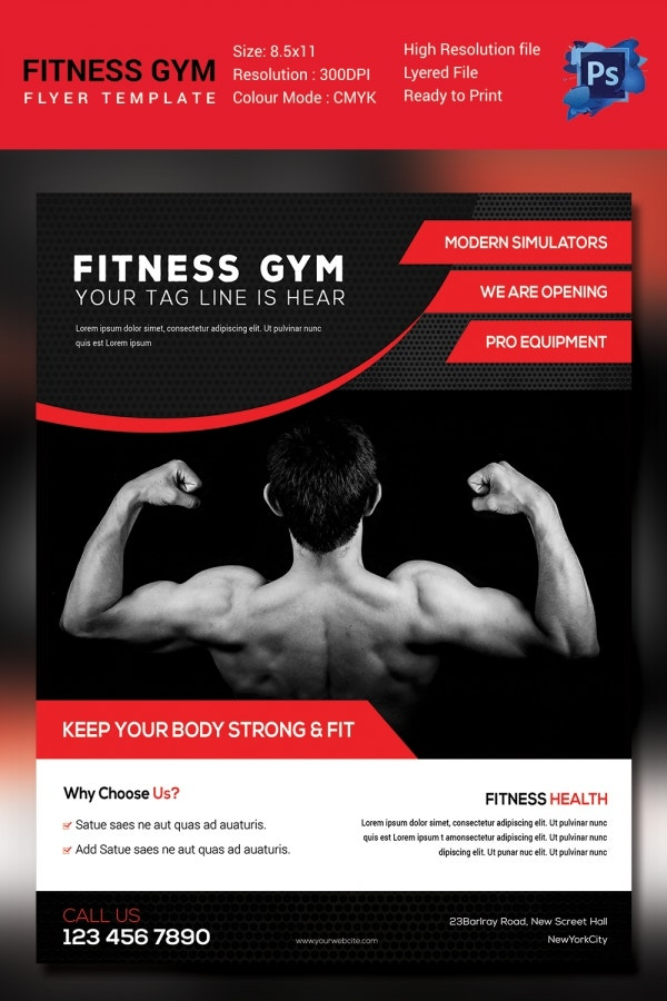 Core Fitness Gym Flyer Template Psd