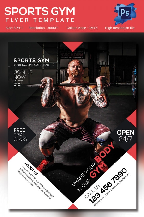 Fitness A4 Flyer Template