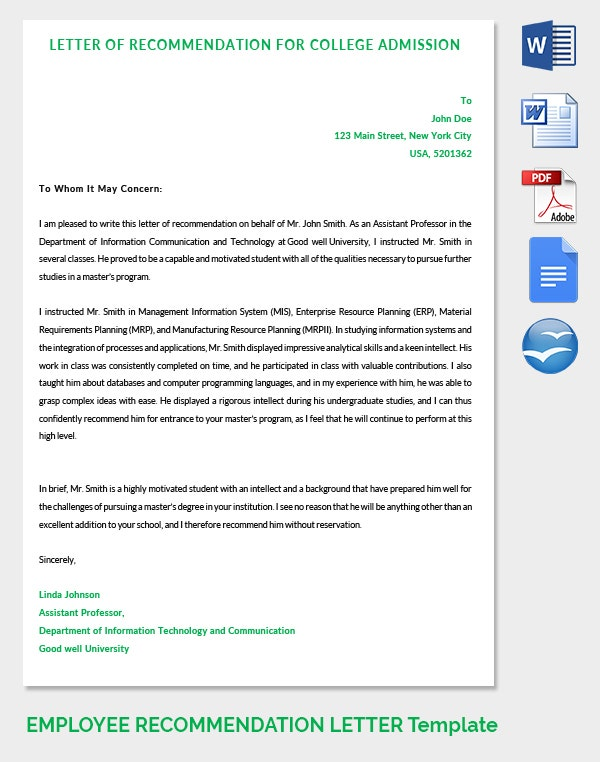 20 employee recommendation letter templates hr template for Letter of recommendation template for college admission