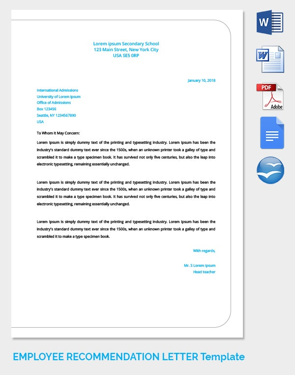 20 Employee Recommendation Letter Templates HR Templates – Endorsement Letter for Employment