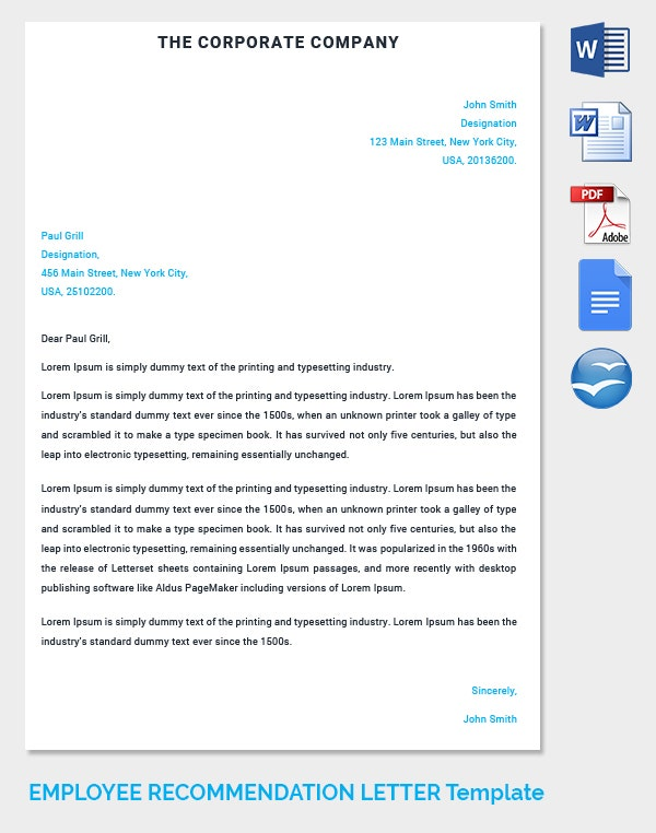 Corporate Company Employee Recommendation Letter Template