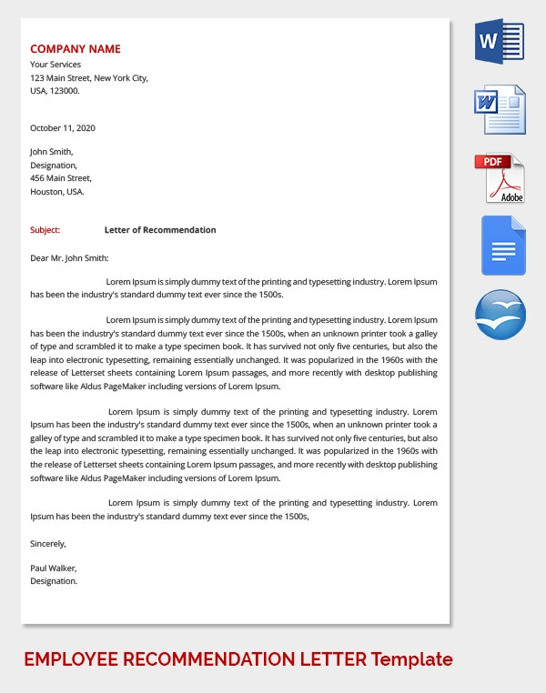 Employee Recommendation Letter for Interview