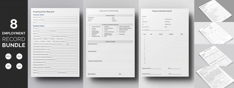 8 Best Employee Record Template Bundle